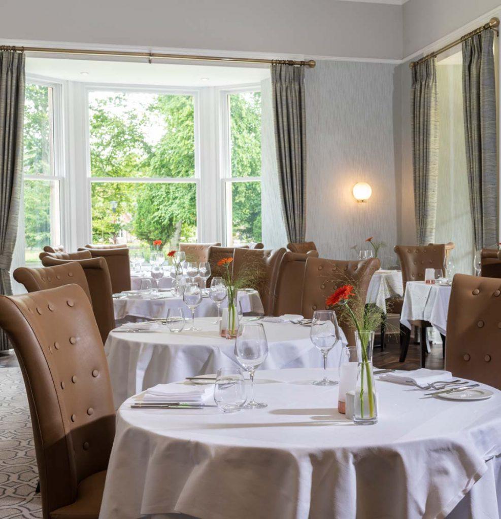 Tables set in luxury restaurant