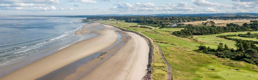 Nairn GOlf Course with coastline with sandy beach